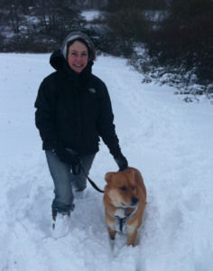 Kim and Theo in the snow